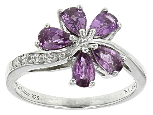 Photo of Exotic Jewelry Bazaar™1.23ctw Pear Shape Purple Ceylon Sapphire & .04ctw White Zircon Silver Ring - Size 12
