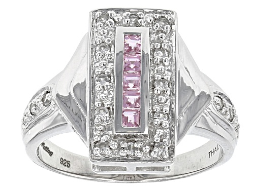 Photo of Exotic Jewelry Bazaar™ .19ctw Square Pink Ceylon Sapphire And .30ctw White Zircon Silver Ring - Size 12