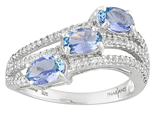 Photo of Exotic Jewelry Bazaar™ 1.17ctw Oval Tanzanite And .56ctw White Zircon Sterling Silver Ring - Size 11