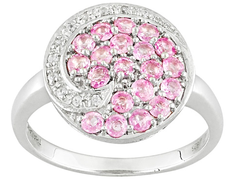 Photo of Exotic Jewelry Bazaar™ .97ctw Pink Ceylon Sapphire And White Zircon Sterling Silver Ring - Size 10