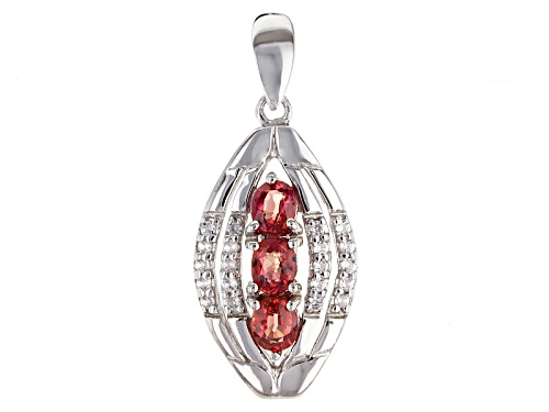 Photo of Exotic Jewelry Bazaar™ 1.03ctw Oval Red Winza Sapphire And .29ctw Zircon Sterling Silver Pendant