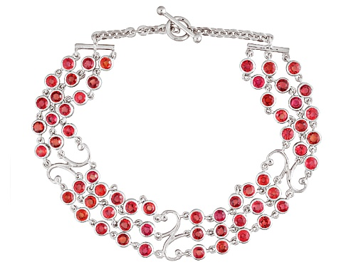 Photo of Exotic Jewelry Bazaar™ 7.01ctw Round Red Winza Sapphire Sterling Silver Three-Strand Bracelet - Size 7.5
