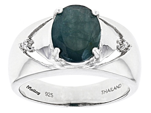 Photo of Exotic Jewelry Bazaar™ 1.87ct Oval Grandidierite And .01ctw White Zircon Sterling Silver Ring - Size 7