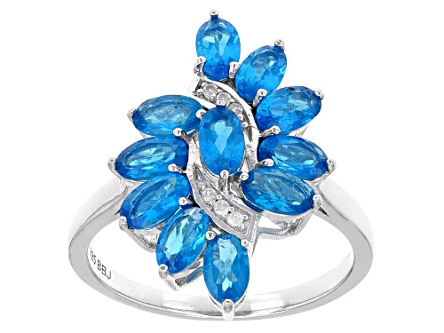 Photo of Exotic Jewelry Bazaar™ 2.35ctw Oval Neon Blue Apatite And .04ctw White Zircon Silver Cluster Ring - Size 10