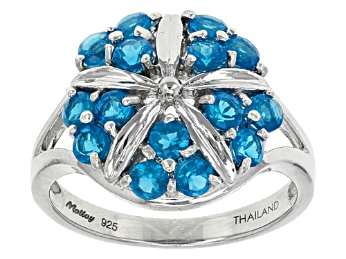 Photo of Exotic Jewelry Bazaar™ .95ctw Round Neon Blue Apatite Sterling Silver Cluster Ring - Size 12