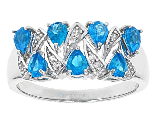 Photo of Exotic Jewelry Bazaar™1.17ctw Pear Shape Neon Blue Apatite & .07ctw White Zircon Silver Band Ring - Size 12