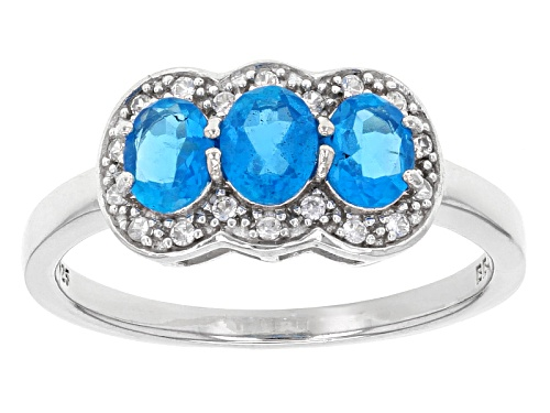 Photo of Exotic Jewelry Bazaar™ .97ctw Oval Neon Blue Apatite With .13ctw White Zircon Silver 3-Stone Ring - Size 11