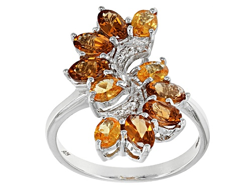 Photo of Exotic Jewelry Bazaar™2.50ctw Oval Mandarin Garnet With .02ctw White Zircon Silver Bypass Ring - Size 8