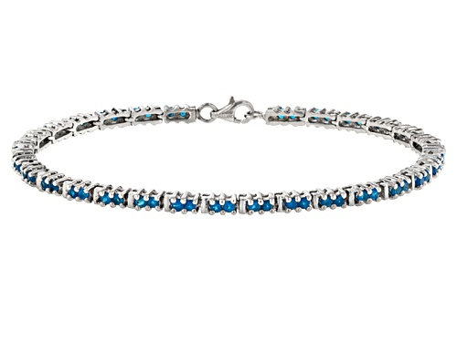 Photo of Exotic Jewelry Bazaar™ 2.36ctw Round Neon Blue Apatite Sterling Silver Bracelet - Size 7.5
