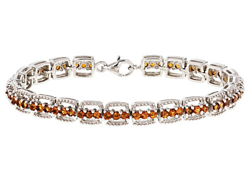 Photo of Exotic Jewelry Bazaar™ 5.33ctw Round Mandarin Garnet Sterling Silver Bracelet - Size 7.5