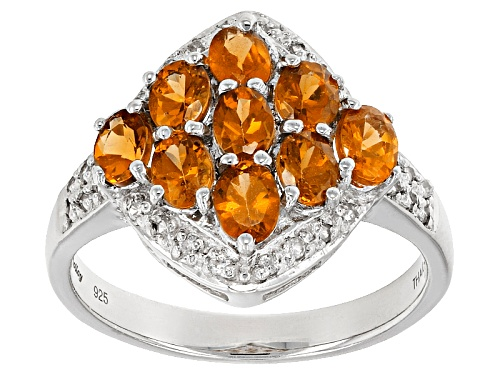 Photo of Exotic Jewelry Bazaar™ 1.42ctw Oval Mandarin Garnet With .20ctw White Zircon Sterling Silver Ring - Size 12