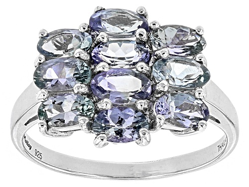 Exotic Jewelry Bazaar™ 2.42ctw Oval Tanzanite Sterling Silver Cluster Ring - Size 8