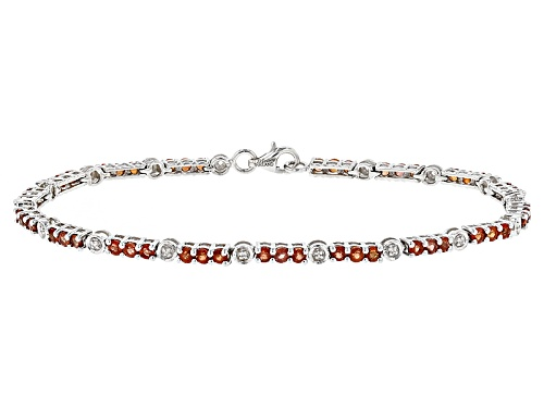 Photo of Exotic Jewelry Bazaar™ 4.20ctw Round Red Winza Sapphire And .12ctw White Zircon Silver Bracelet - Size 7.5