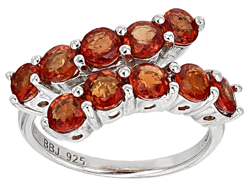 Photo of Exotic Jewelry Bazaar™ 2.50ctw 4mm Round Orange Sapphire Sterling Silver Bypass Ring - Size 6