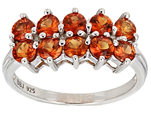 Photo of Exotic Jewelry Bazaar™ 1.76ctw Round Orange Sapphire Sterling Silver Band Ring - Size 11