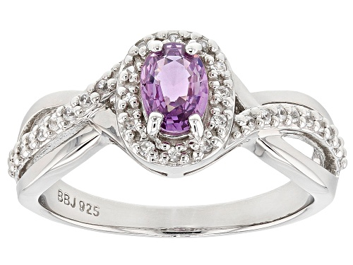 Photo of Exotic Jewelry Bazaar™  0.49ct Purple Ceylon Sapphire & 0.15ctw Zircon Rhodium Over Silver Ring - Size 8