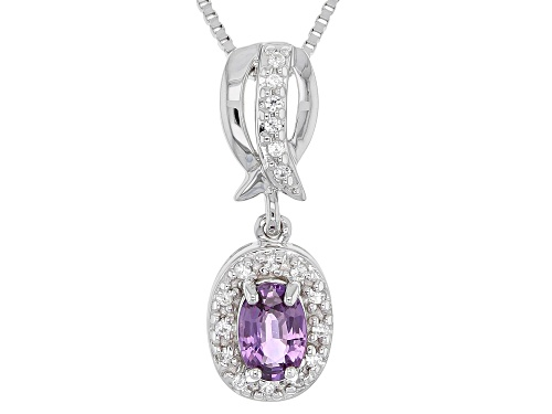 Photo of Exotic Jewelry Bazaar™ .58ctw Purple Ceylon Sapphire & Zircon Rhodium Over Silver Pendant & Chain