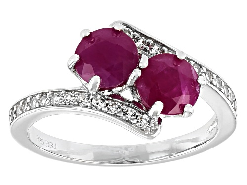 Photo of Exotic Jewelry Bazaar™ 2.04ctw Kenya Ruby And 0.20ctw White Zircon Rhodium Over Silver Bypass Ring - Size 8