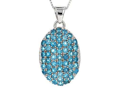 Photo of Exotic Jewelry Bazaar™ 2.28ctw 2mm Round Neon Apatite Rhodium Over Silver Pendant With Chain