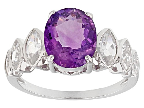 Photo of Exotic Jewelry Bazaar™ 1.96ct Cambodian Amethyst & 1.26ctw  White Zircon Rhodium Over Silver Ring - Size 8