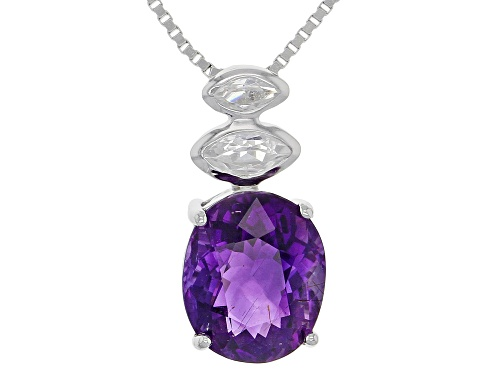 Photo of Exotic Jewelry Bazaar™ 2.27ctw Cambodian Amethyst & White Zircon Rhodium Over Silver Pendant & Chain