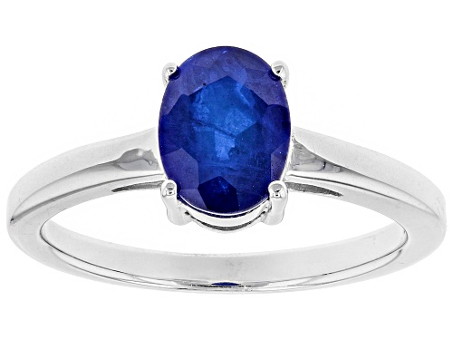 Photo of Exotic Jewelry Bazaar™ 1.32ct 8x6mm Oval Burmese Blue Spinel Rhodium Over Silver Solitaire Ring - Size 12
