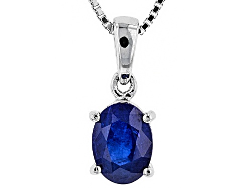 Photo of Exotic Jewelry Bazaar™ 1.32ct 8x6mm Oval Burmese Blue Spinel Rhodium Over Silver Pendant With Chain