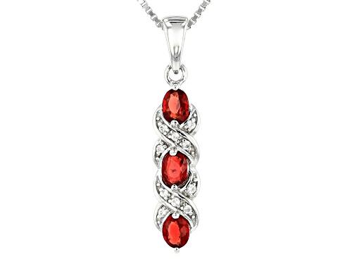 Photo of Exotic Jewelry Bazaar™ .63ctw Red Winza Sapphire & White Zircon Rhodium Over Silver Pendant W/Chain