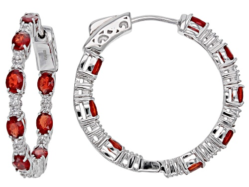 Photo of Exotic Jewelry Bazaar™ 3.72ctw Red Winza Sapphire & White Zircon Rhodium Over Silver Hoop Earrings