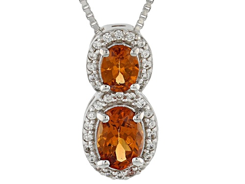Photo of Exotic Jewelry Bazaar™ 1.18ctw Mandarin Garnet, White Zircon Rhodium Over Silver Pendant W/Chain