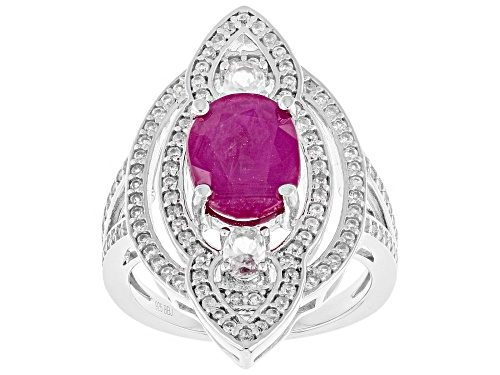 Photo of Exotic Jewelry Bazaar™ 4.04ctw Kenya Ruby And White Zircon Rhodium Over Silver Ring - Size 8