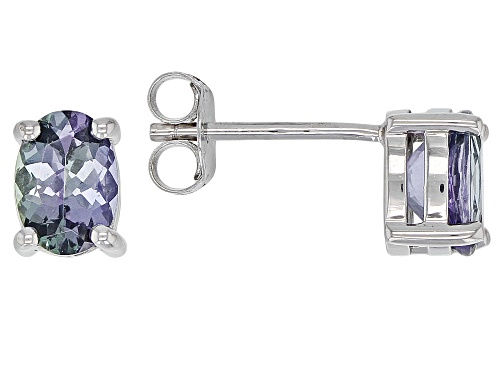 Photo of Exotic Jewelry Bazaar™ 1.35ctw Oval Ocean Tanzanite(R) Solitaire Rhodium Over Silver Stud Earrings