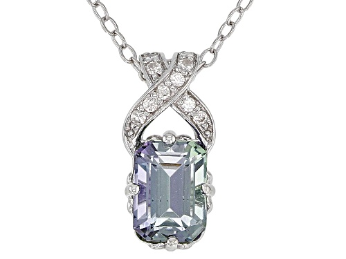 Photo of Exotic Jewelry Bazaar™ 1.02ctw Ocean Tanzanite(R) & White Zircon Rhodium Over Silver Pendant W/Chain
