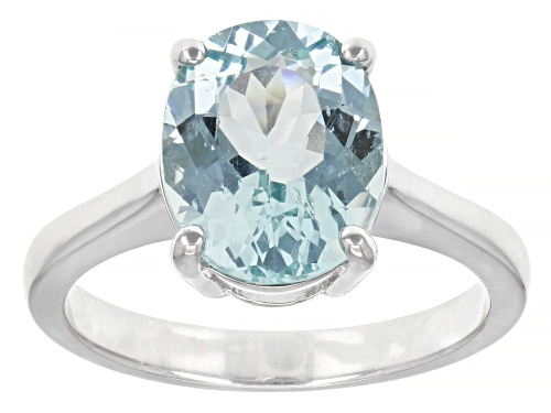 Photo of Exotic Jewelry Bazaar™ 3.54ct 11x9mm Oval Cabo Delgado Blue Apatite Rhodium Over Silver Ring - Size 8