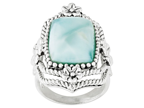 Photo of Rectangular Cushion Cabochon Larimar Sterling Silver Ring - Size 5