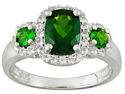 Photo of 1.74ctw Cushion And Round Chrome Diopside With .32ctw Round White Topaz Silver 3-Stone Ring - Size 12
