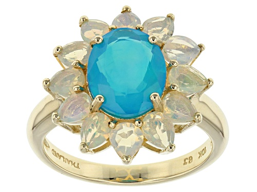 Photo of 1.06ct Oval Paraiba Color Ethiopian Opal And 1.12ctw Pear Shape Ethiopian Opal 10k Yellow Gold Ring - Size 8