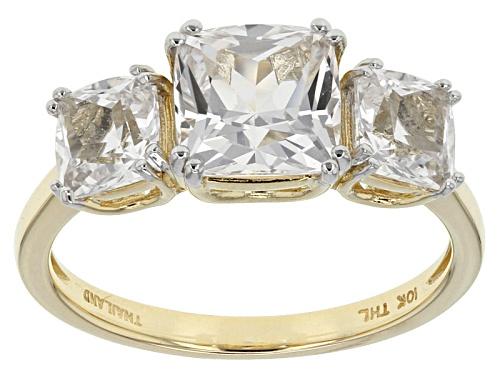 Photo of 2.60ctw Square Cushion Danburite 10k Yellow Gold 3-Stone Ring - Size 8