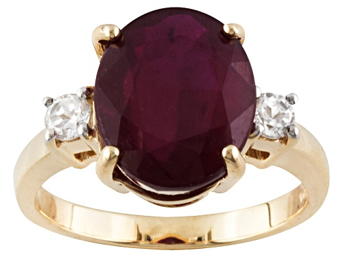 Photo of 6.50ct Oval Mahaleo® Ruby With .29ctw Round White Zircon 10k Yellow Gold Ring - Size 8