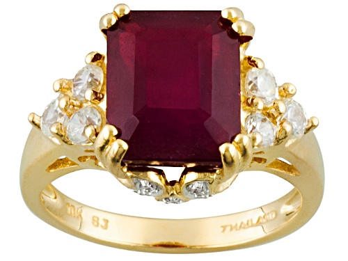 Photo of 4.60ct Mahaleo® Ruby With .54ctw White Zircon And .01ctw White Diamond Accents 10k Yellow Gold Ring - Size 8