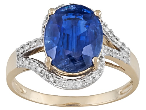 Photo of 2.71ct Oval Kyanite With .14ctw Round White Zircon 10k Yellow Gold Ring - Size 4.5