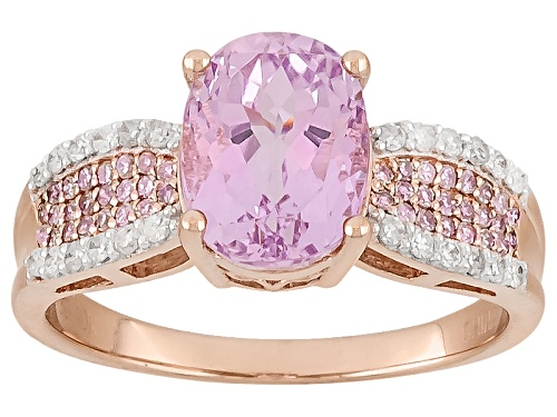 Photo of 2.05ct Oval Kunzite With .11ctw Round Pink And .13ctw Round White Diamonds 10k Rose Gold Ring - Size 12