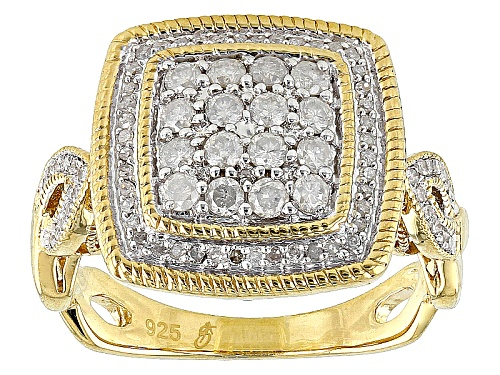 Engild™ .62ctw Round White Diamond 14k Yellow Gold Over Sterling Silver Cluster Ring - Size 6