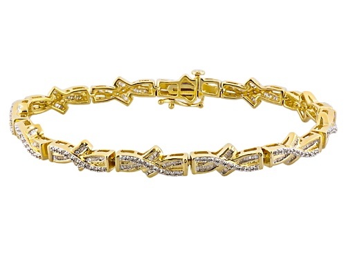 Photo of Engild™ 1.33ctw Baguette & Round White Diamond 14k Yellow Gold Over Sterling Silver Line Bracelet - Size 7.5