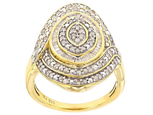 Photo of Engild™ .95ctw Round And Baguette White Diamond 14k Yellow Gold Over Sterling Silver Ring - Size 5