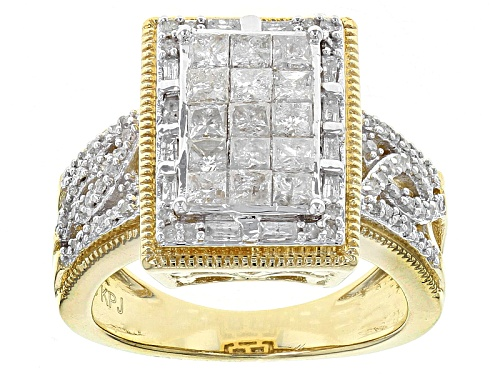 Photo of Engild™ 1.30ctw Princess Cut Round And Baguette White Diamond 14k Yellow Gold Over Silver Ring - Size 7