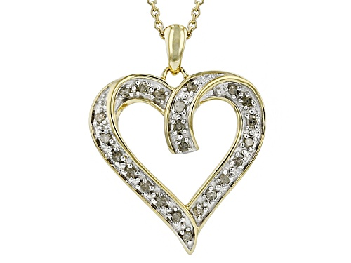 Photo of Engild™ .25ctw Round White Diamond 14k Yellow Gold Over Sterling Silver Heart Pendant With Chain