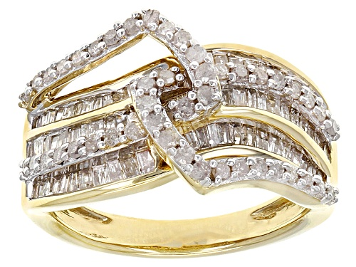 Photo of Engild™ .87ctw Baguette & Round White Diamond 14k Yellow Gold Over Sterling Silver Crossover Ring - Size 7