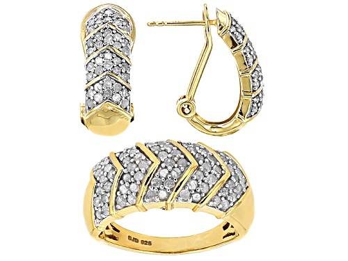 Photo of Engild™ 1.85ctw Round White Diamond 14k Yellow Gold Over Sterling Silver Ring And Earrings Set