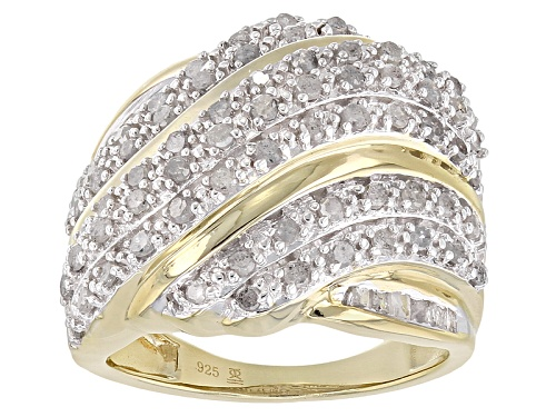 Photo of Engild™ 1.00ctw Round And Baguette White Diamond 14k Yellow Gold Over Sterling Silver Ring - Size 6